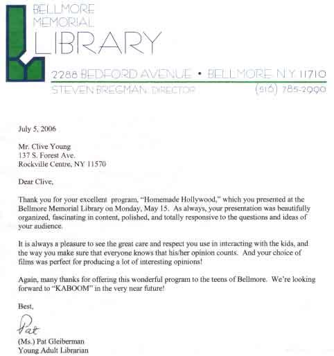 Bellmore Letter 2