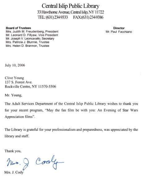 Central Islip Letter