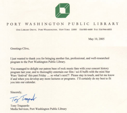 Port Washington Letter