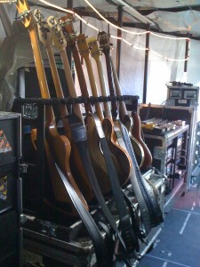 Adam Clayton goes through about six basses in the course of a show, so there's about a dozen at the ready for him.